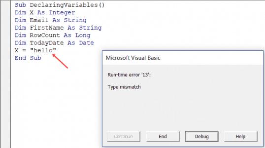 Excel VBA Data Types assignment error mismatch