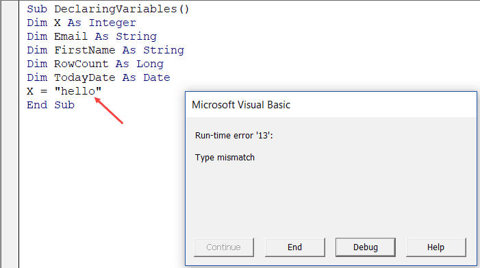 Excel VBA Data Types assignment error mismatch