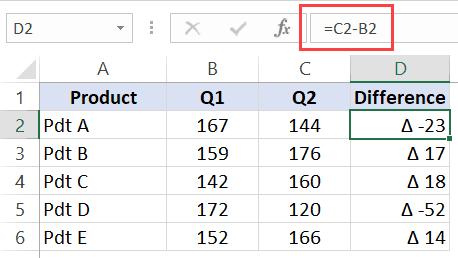 Formula Bar - Delta Result