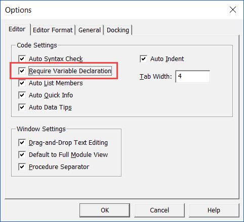 Require Variable Declaration Option