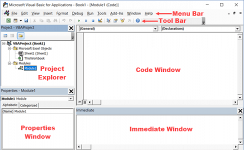 Different Parts of the VB Editor in Excel