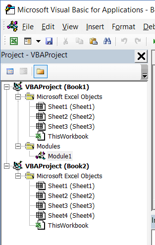 Project Explorer in Excel VBA Editor