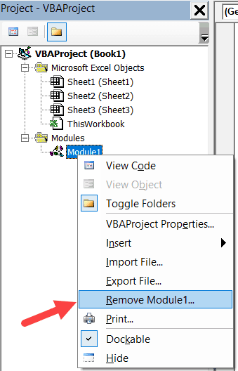 Remove Module for a Project in the VB Editor