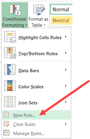 Click on New rule in conditional formatting
