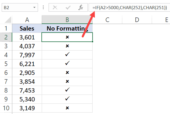 Formula to get check mark based on the cell value