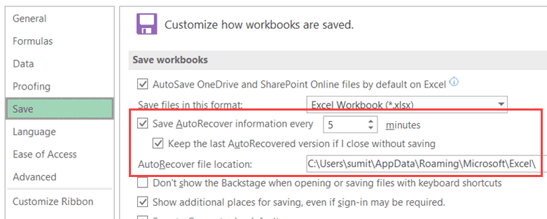AutoSave and AutoRecover settings in Excel