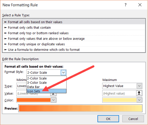 Click on Icon Sets in New Formatting Rule Dialog box
