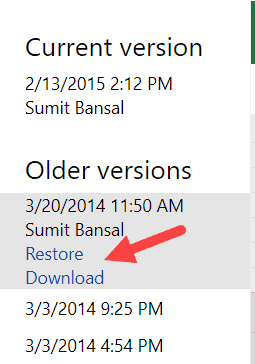 Restore or Download previous versions in OneDrive