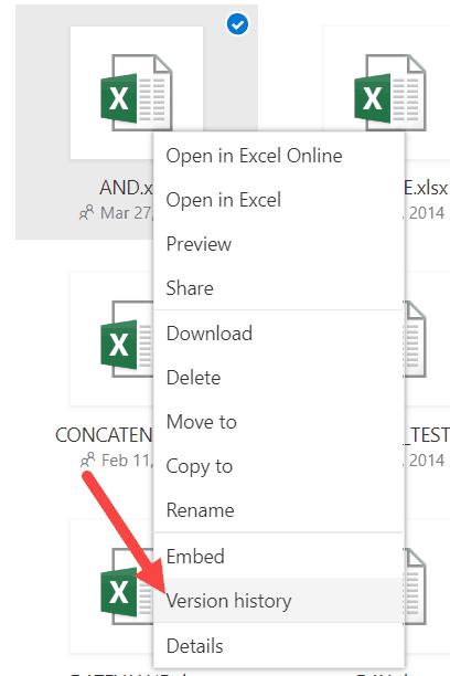 Version HIstory OneDrive