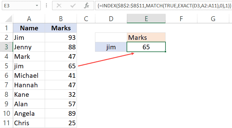 Doing a case sensitive lookup with Index Match