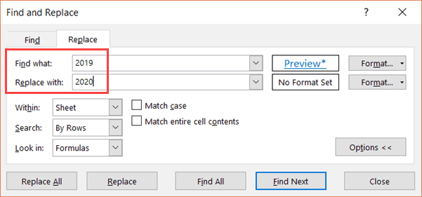 Enter the values in find what and replace what fields