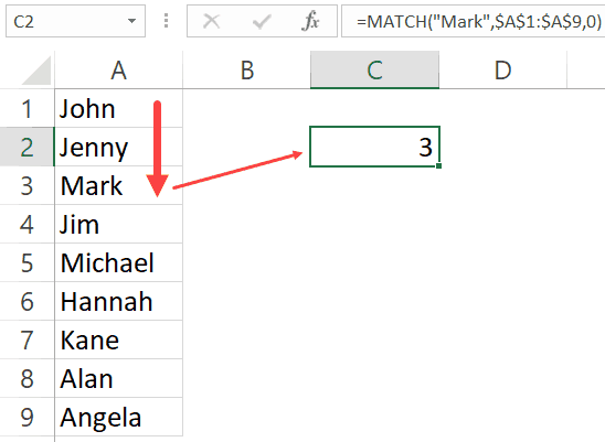 Match Function in Excel - Finding Mark Name
