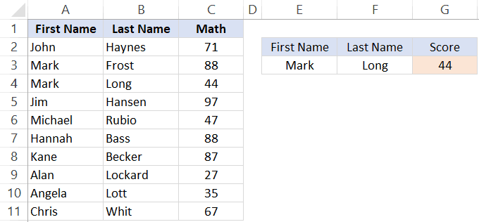 Multiple Criteria Lookup result - INDEX &MATCH