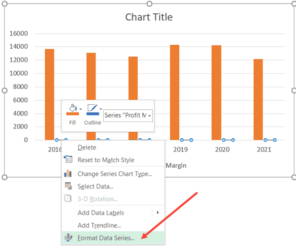 Right-click and select Format Data Series option