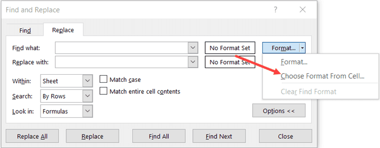 Select Choose format from cell