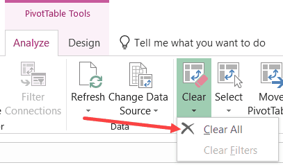 Clear All Pivot Table