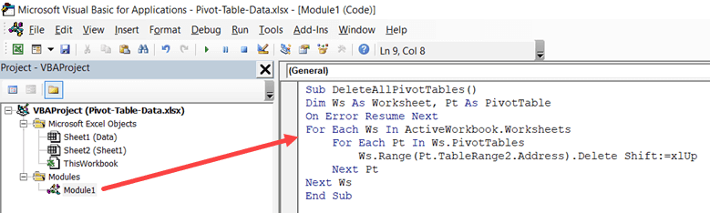 Copy and Paste the VBA Code in the module window