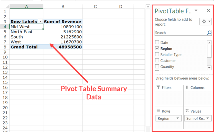 Delete Pivot Table Summary Data