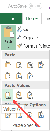 Paste as Value Over the Pivot Table