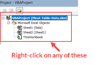 Right-click on any VBA object