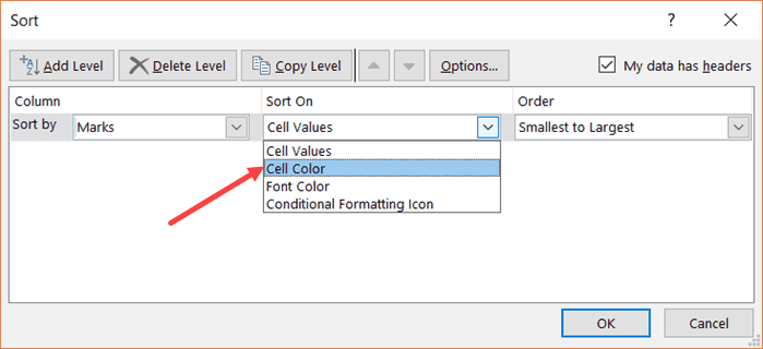 Select Cell Color from the drop down