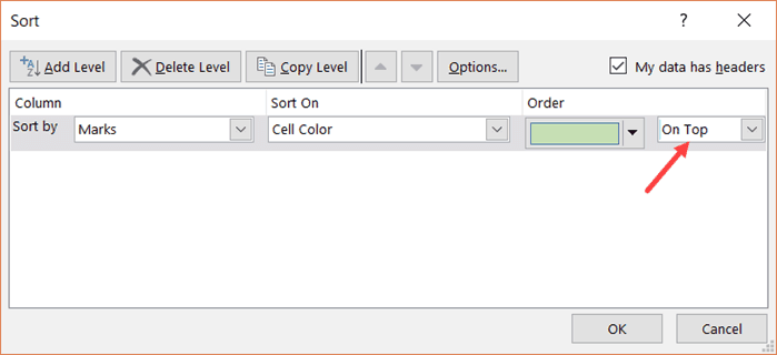 Sort by Multiple Colors - Select on top option