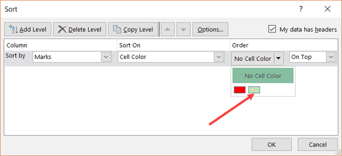 Sort by multiple colors - select Green in the drop down