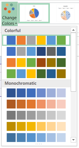 Change color pallete of the chart in Excel