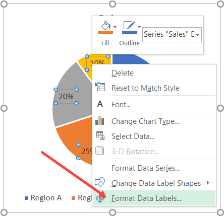 Click on Format Data Labels to get additional formatting options