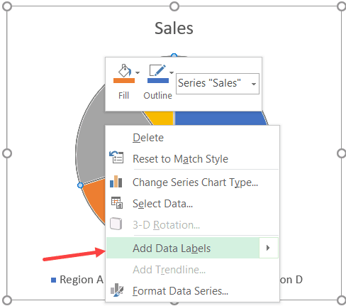 Right-click and then Click on the Add Data Labels option