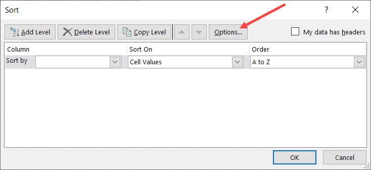 Click on Option to sort left to right in Excel