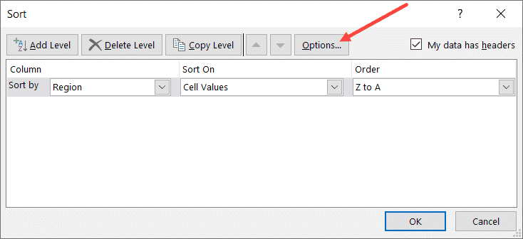 Click the Option button in the Sort dialog box