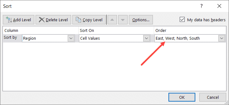 Custom Sort criteria becomes available as the sort order