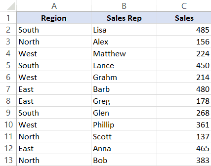 Data set for sorting - without helper column