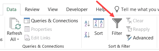 Filter Icon in Excel Ribbon