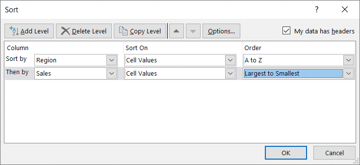 Second Level sorting criteria in dialog box