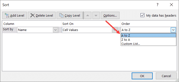 Select A to Z in Sort Order dialog box