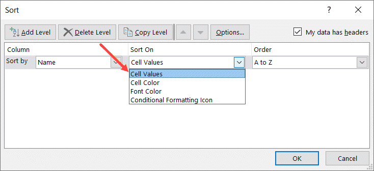 Select Cell Values in Sort on drop down