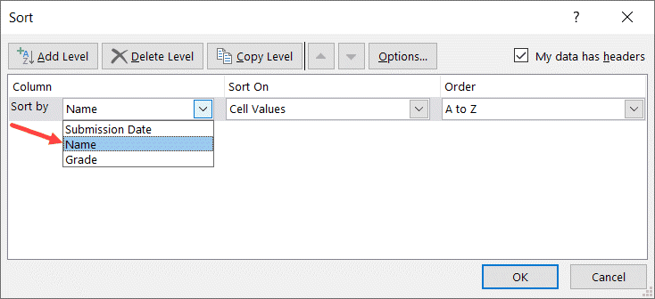 Select Name in Sort by drop down