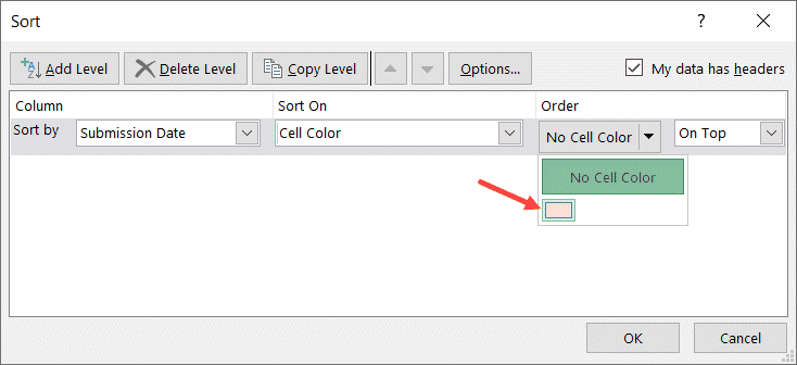 Select color by which you want to sort the data