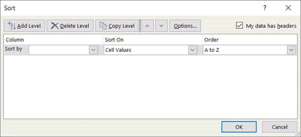 Sort in Excel - Dialog box