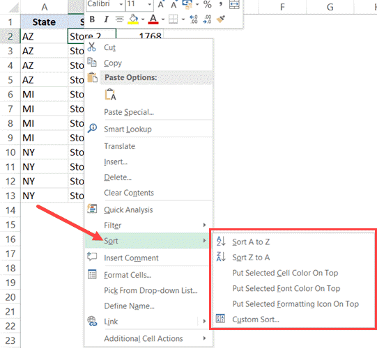 Sort in Excel using right-click menu options