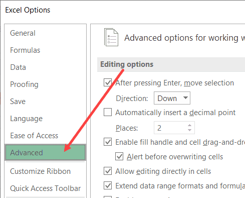 Advanced tab in Excel Options dialog box