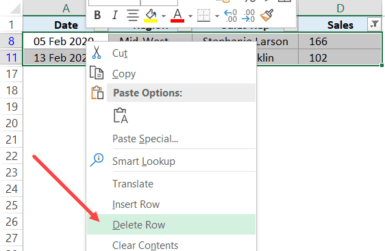 Click on Delete Row Option for filtered row based on numbers