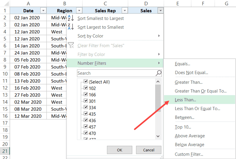 Click on Less then option in number filters