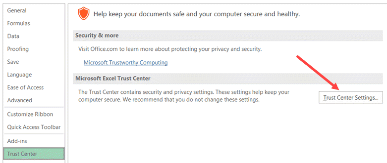 Click on Trust Center Settings