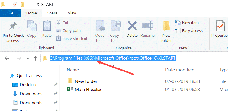 Copy and Paste XLStart folder path in any folder to open it