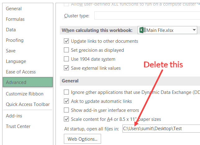 Delete Alternate Startup folder address in the Excel Options dialog box