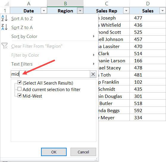 Enter text in filter filed to get matching records