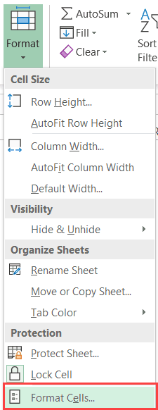 Click on Format Cells option in the drop-down